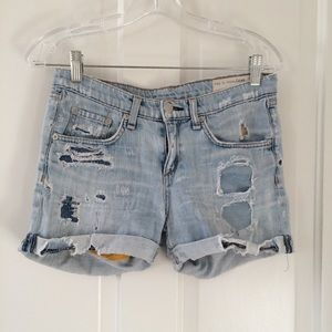 Distressed Rag & Bone denim shorts